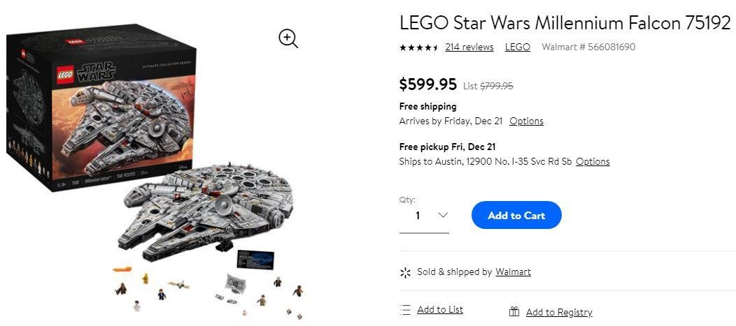 Walmart sells UCS Millennium Falcon for 25% off